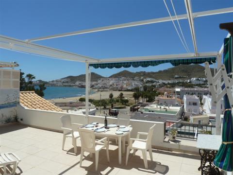 Across terrace to bay