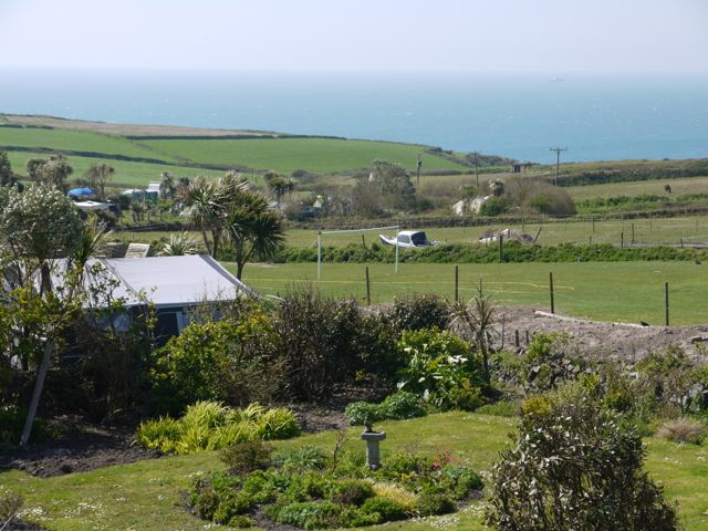 View of fields and sea