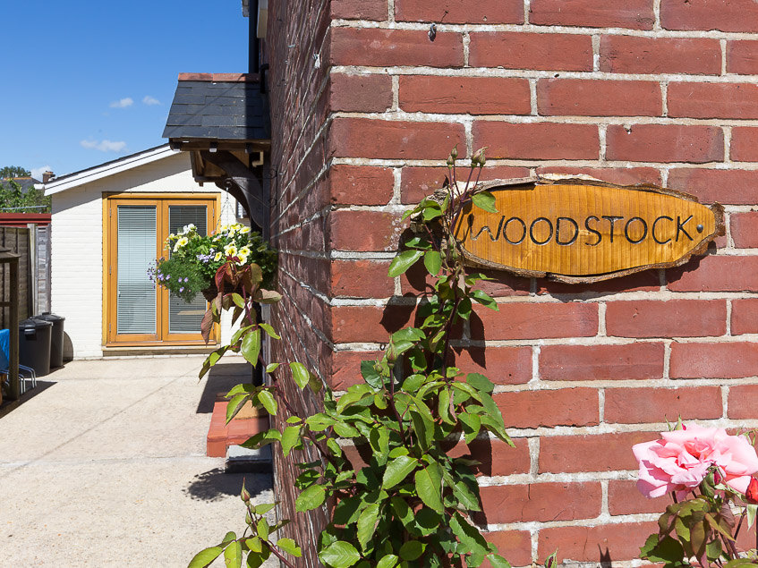 Woodstock sign on front